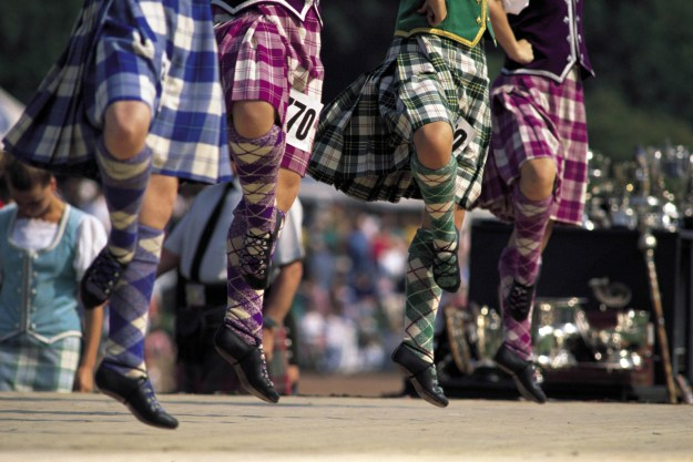 The Highland Dancing Ceilidh competition with bright tartans, and hopping on one foot in Scotland!