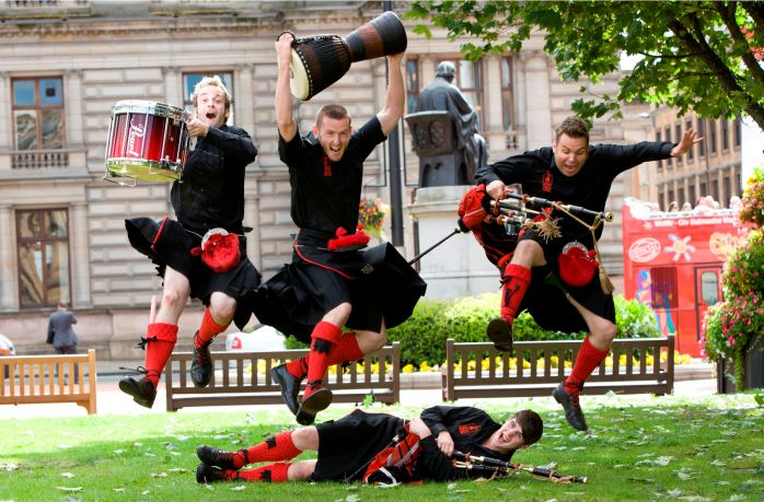 The amazing Red Hot Chilli pipers doing their stuff in Glasgow. Photo@ Chris James.