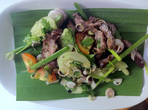 My home-made beef salad covered with spring onions, lemon grass and mint!