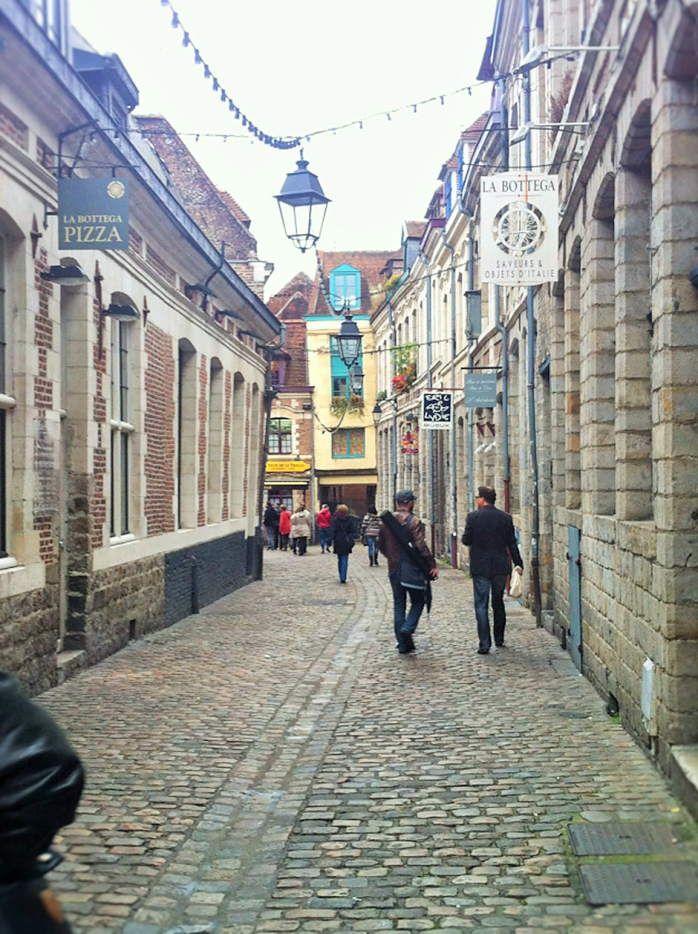 Down the cobbled streets in Lille.
