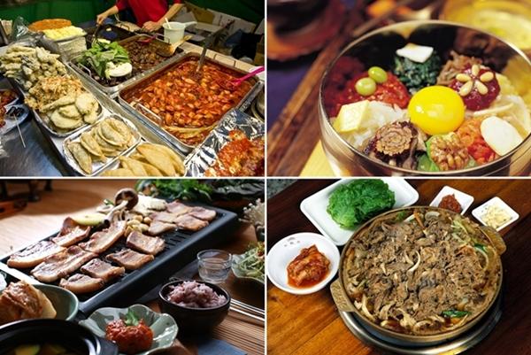 A variety of spicy Korean food.