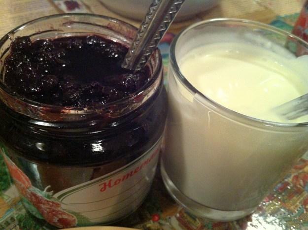 Home-made blueberry jam and cream.