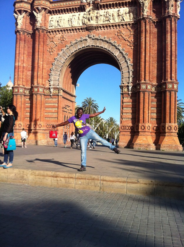 About to leap outside the Arc de Triomf in Barcelona, Spain!