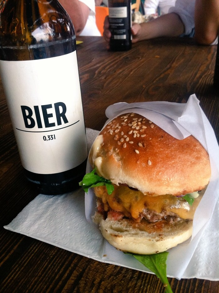 An organic burger and a beer at Bread & Butter.
