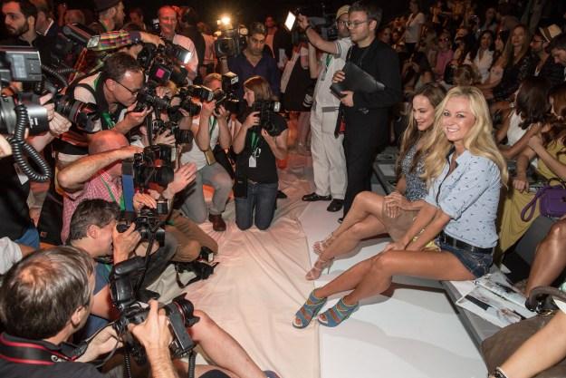 Sonja Kirchberger and Jenny Elvers at Mercedes-Benz Fashion Week Berlin SPRING/SUMMER 2016. Foto: © Nass / Brauer  - Mercedes-Benz