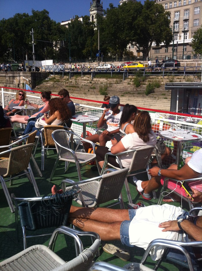 On the boat cruise in Budapest. Very hot, but not very crowded!