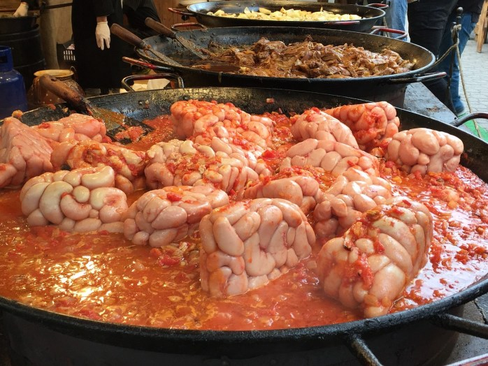 Now this looks a lot like brain, but I'm thinking they're probably Hungarian sausages in a stew! Or are they?!!