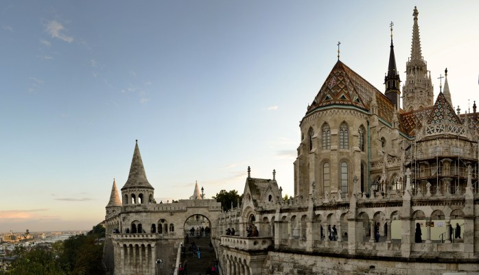Matthias Church and the Fisherman's Bastion terrace over the city - Budapest.