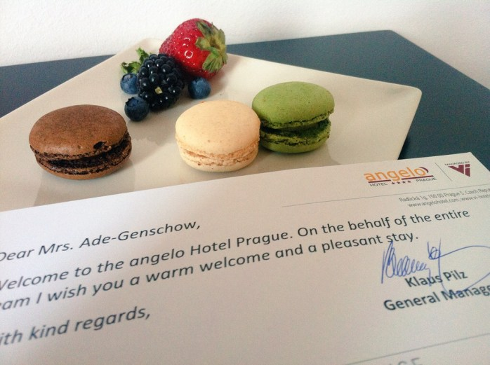 A tray of French macarons at the Angelo Hotel Prague, in the Czech Republic.