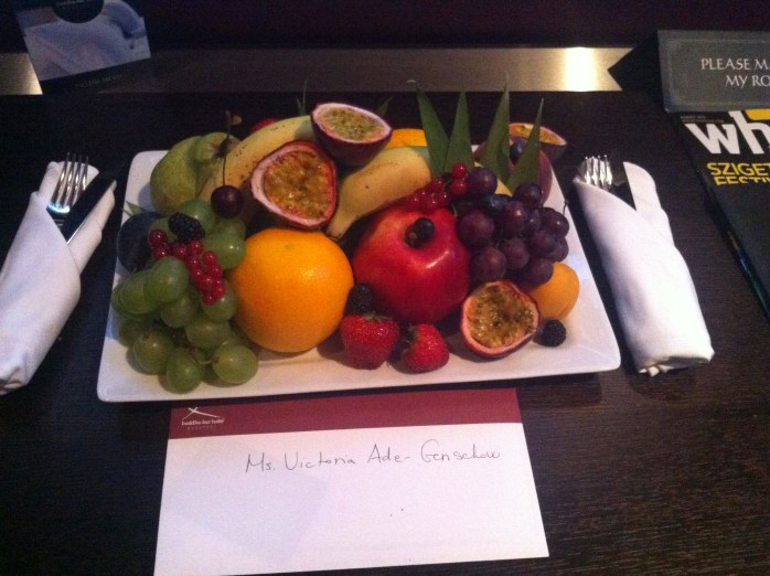 Our delightful tray of fruit. Thank you!