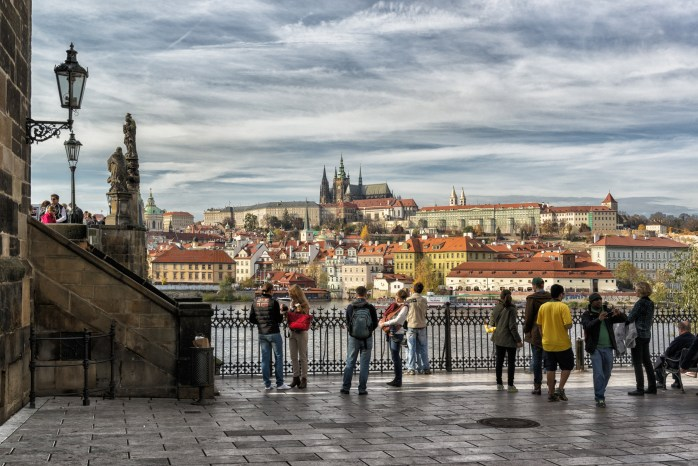 Tourists in Prague.