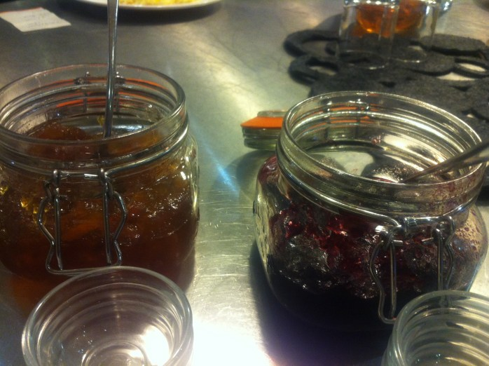 Jams and preserves at breakfast. In Bristol.