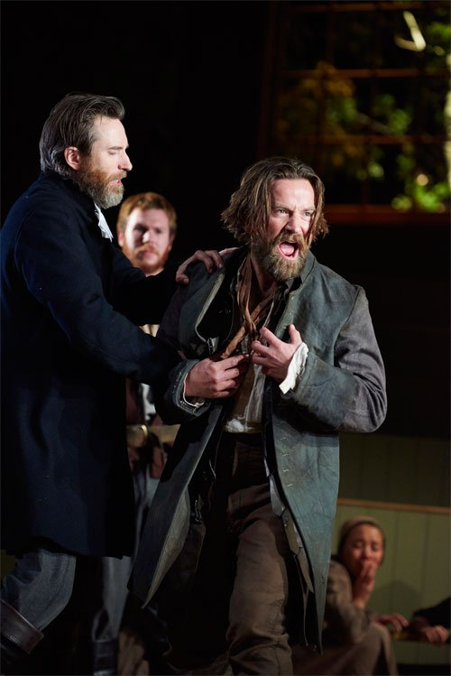 The Crucible at the Bristol Old Vic in Bristol with Daniel Weyman as Rev Hale and Dean Lennox Kelly as John Proctor. © Geraint Lewis.