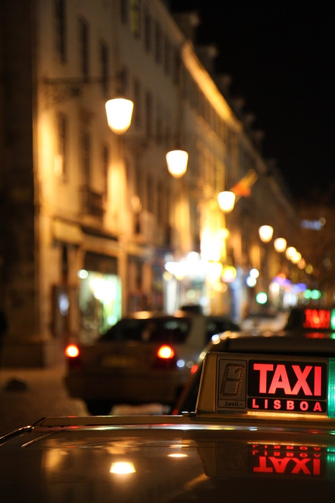 Taking a taxi in Lisbon.