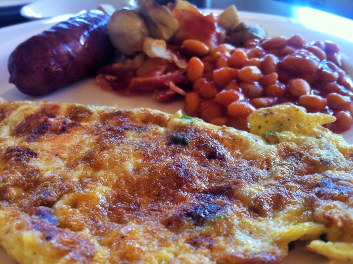 For breakfast, we had baked beans, sausages, mushrooms, & made-to-order eggs at the Meliá Luxembourg Hotel!