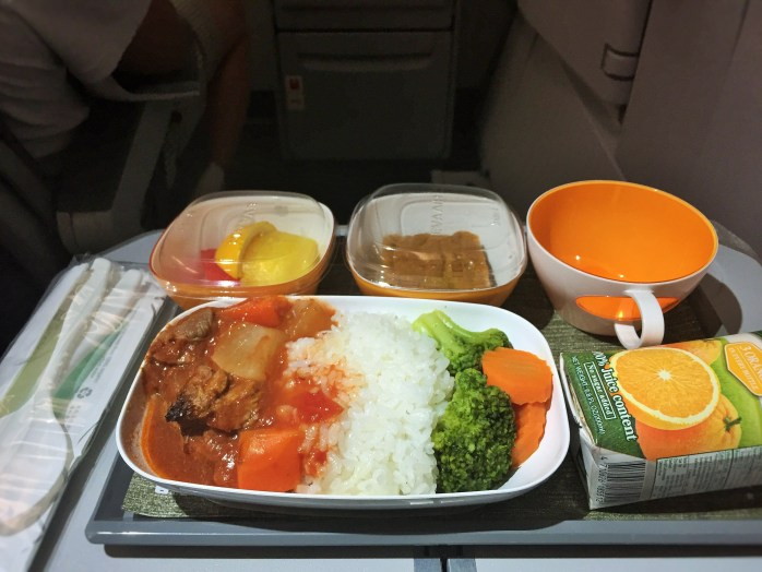 A pretty decent airline meal on EVA Air. If only I hadn't had diarhhea, picked up in the Philippines...!