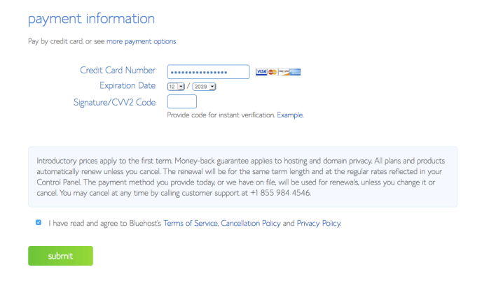 Your Payment Information section.