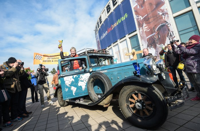Around the world with Heidi Hetzer &amp; her Old-Timer car!<br /> ITB Berlin ©2017 Messe Berlin