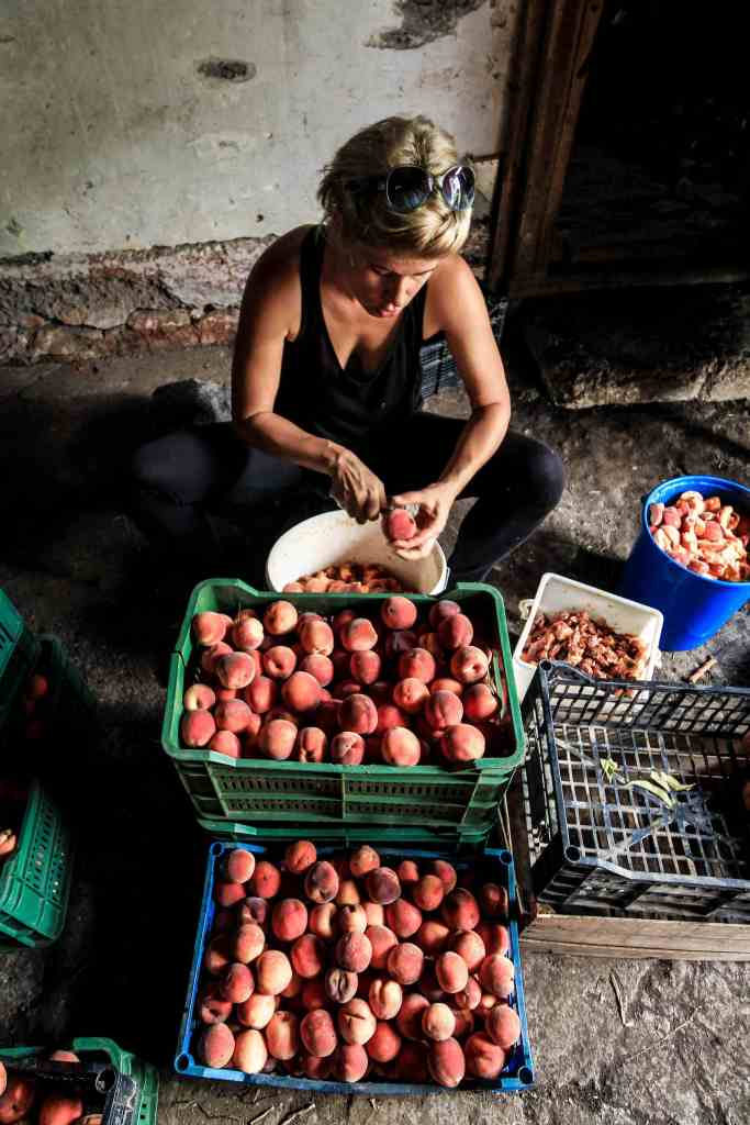 woman with fruit; peaches; nectarines; Serbian food; Belgrade; Serbia; Serbian; Europe; European; Eastern Europe; travel; family travel; solo travel;