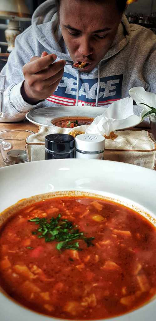 soup; tomato soup; tomato broth; tomato stew; zupa; Polish soup; zupa pomidorowa; thick soup; chicken; meat; vegetables; savoury food; food; Polish food; Polish; Bicykl Restaurant; Polish meal; Polish snack; snack in Łódź; food in Łódź; soup in Łódź; meal; snack; restaurant; Polish restaurant; Łódź restaurant; restaurant in Łódź; restaurant in Poland; Łódź; Poland; Polish; Europe; Eastern Europe; European; travel;