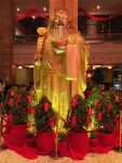 a decorated god of money inside Naga World, the largest casino in Phnom Penh