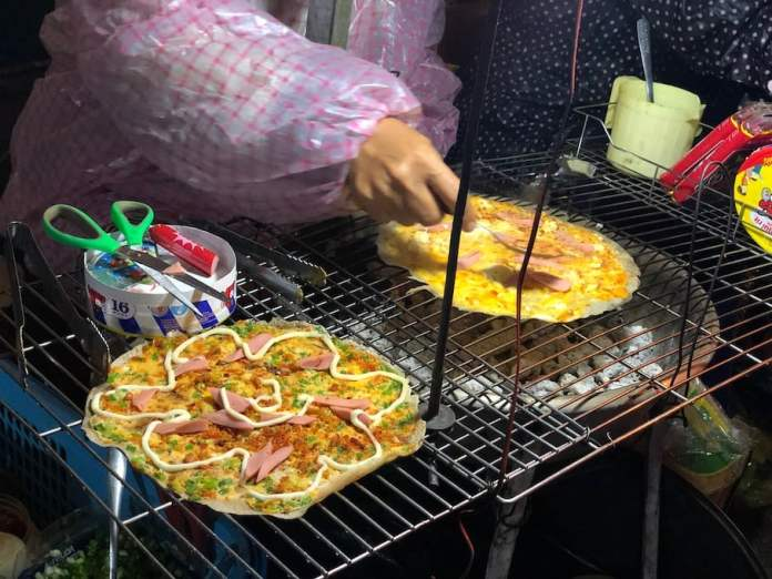 Vietnamese pizza at around Dalat city