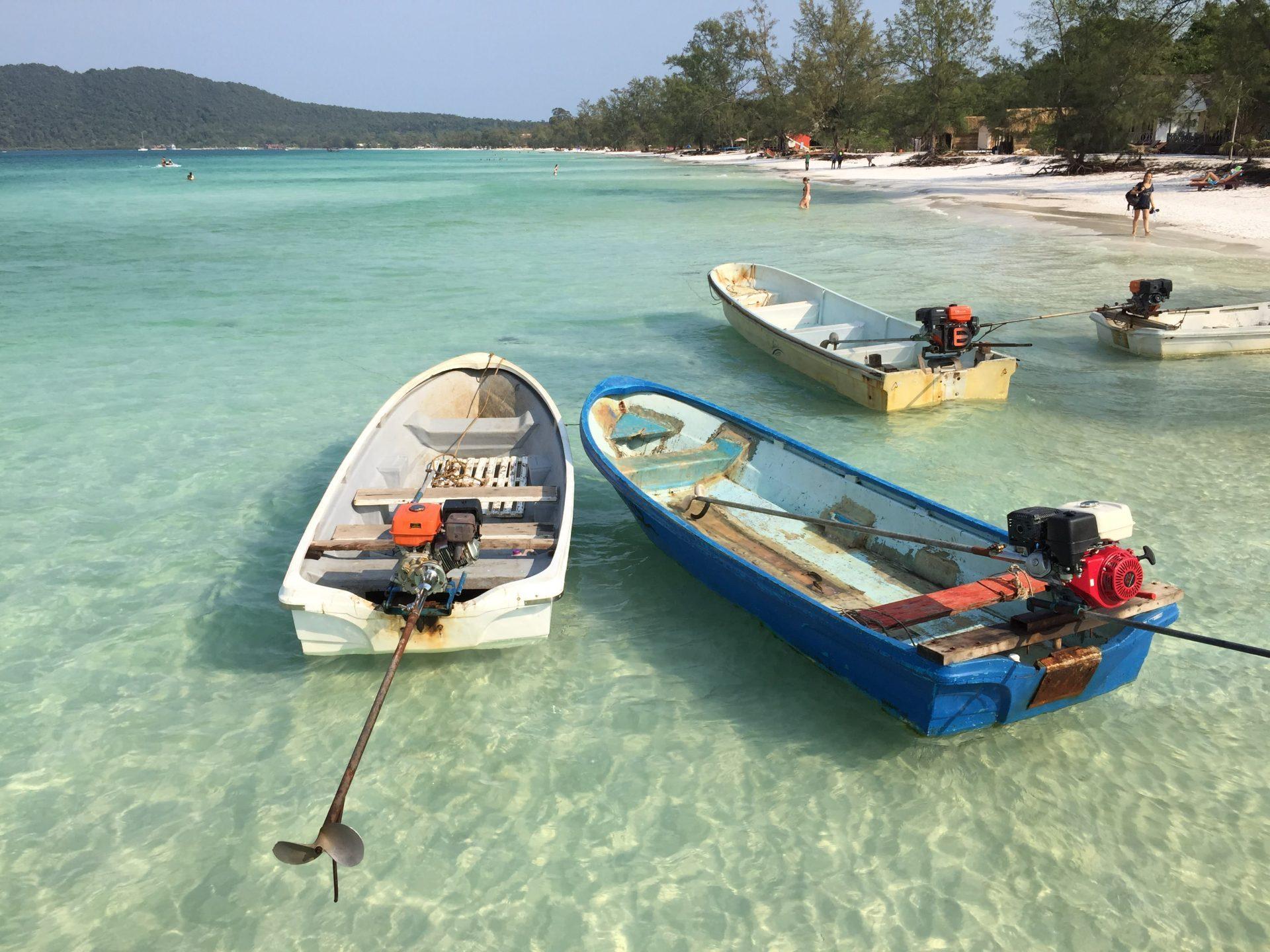 the boats at Koh Rong Samloem - The Broad Life travels Cambodia