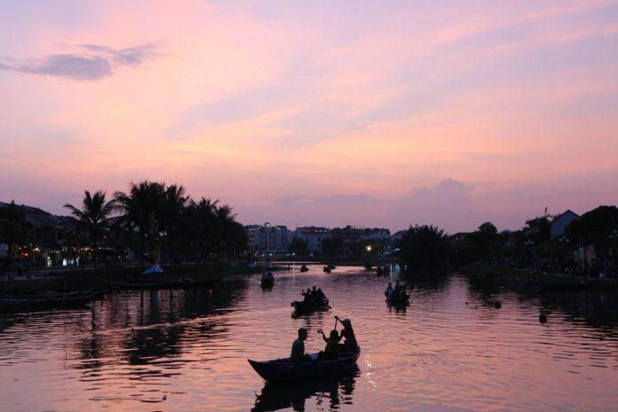 river in Hoi An ancient town when sundown