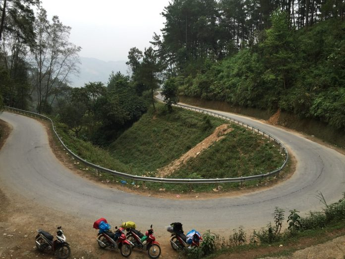 A quick rest stop on the way in Quan Ba, Ha Giang, Vietnam