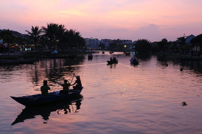 sundown on river at Hoi An Ancient Town