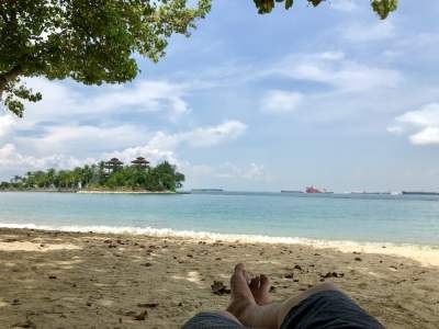 the beach at sentosa island, singapore