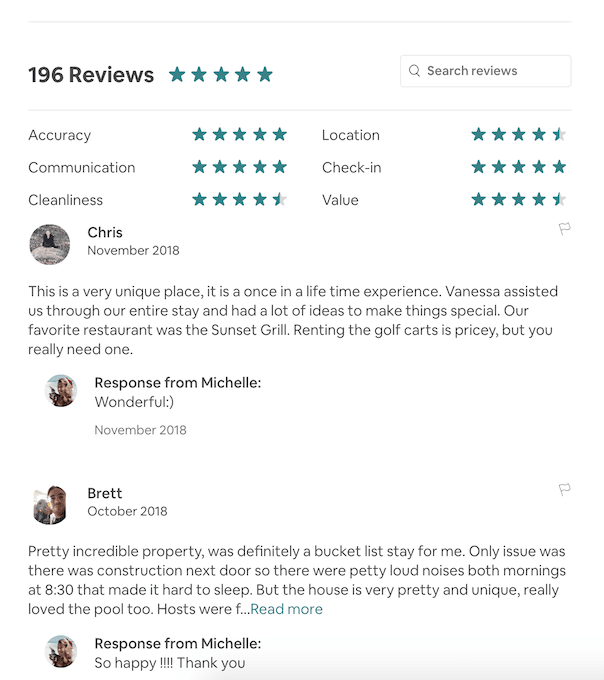 Checking listing reviews on Airbnb