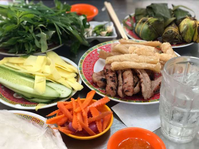 grilled vietnamese sausage, or nem nướng Ninh Hoà, the most special food of Nha Trang cuisine