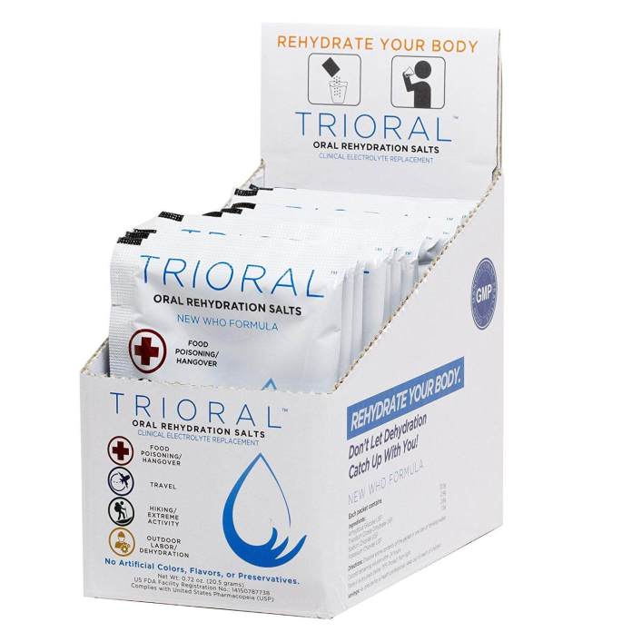 Trioral, oral rehydration salts to treat  food poisoning