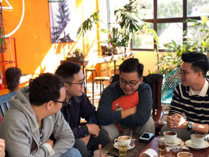 spend the morning with colleagues at Cacao Oi, a coffee shop at Dalat, Vietnam