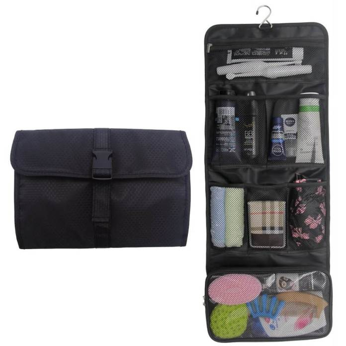 A typical roll-up, hanging toiletry bag