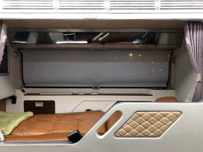 a room inside a sleeper bus