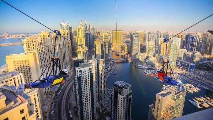 The world's longest urban zipline in Dubai city