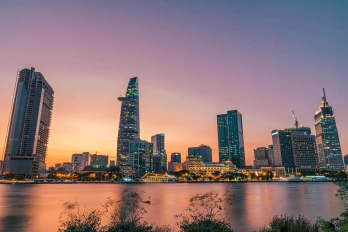 District 1, Ho Chi Minh City with the view from Thu Thiem area