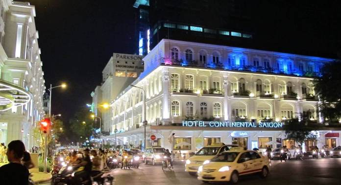 The current Hotel Continental Saigon at night