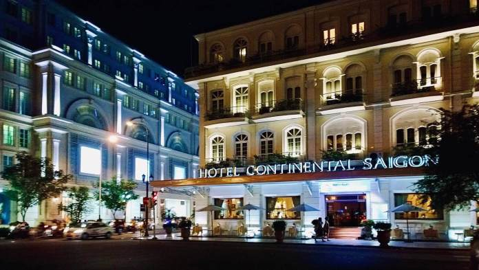 Hotel Continental Saigon at night