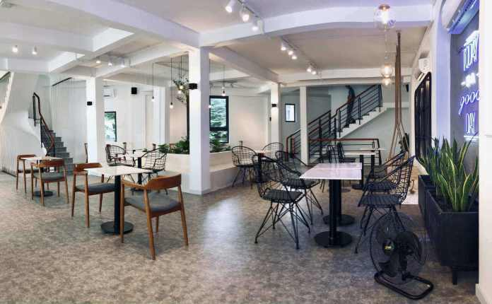 The upper floor of Open Coffee, one of the newest and most modern coffee shops in Saigon