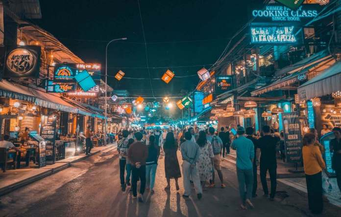 Siem Reap at night in Cambodia 7 days itinerary