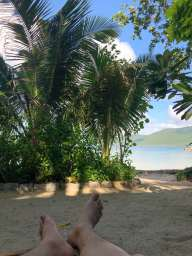 lie down in front of the bungalow and enjoy the beach