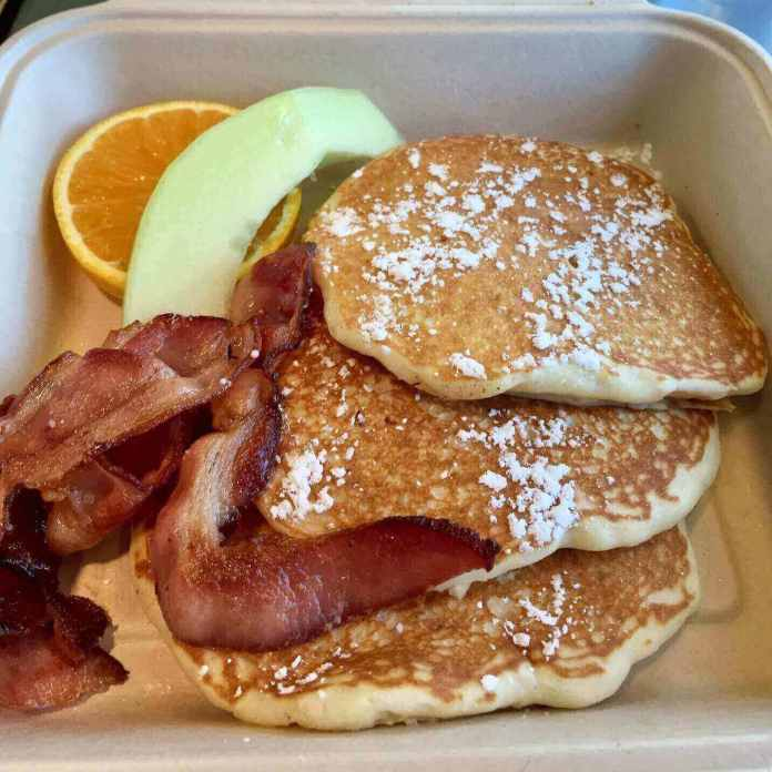 Buttermilk pancakes and bacon for breakfast