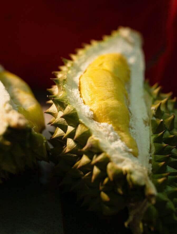 Inside a durian fruit