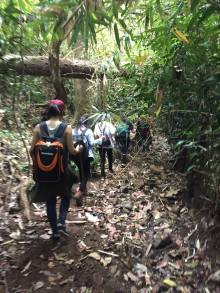 We are trekking to the camping spot