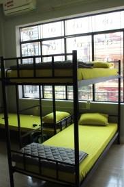 green beds at O.M.E hostel - Quy Nhon, Vietnam