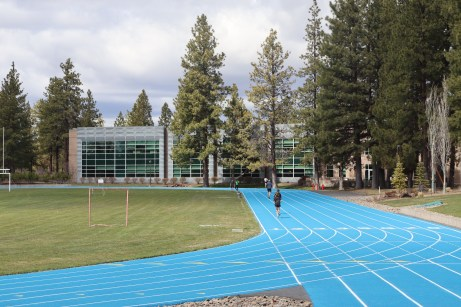 Central Oregon Community College students continue to use the COCC track though all facilities are closed, Thursday, April 16. Photo by Kayla Scott.