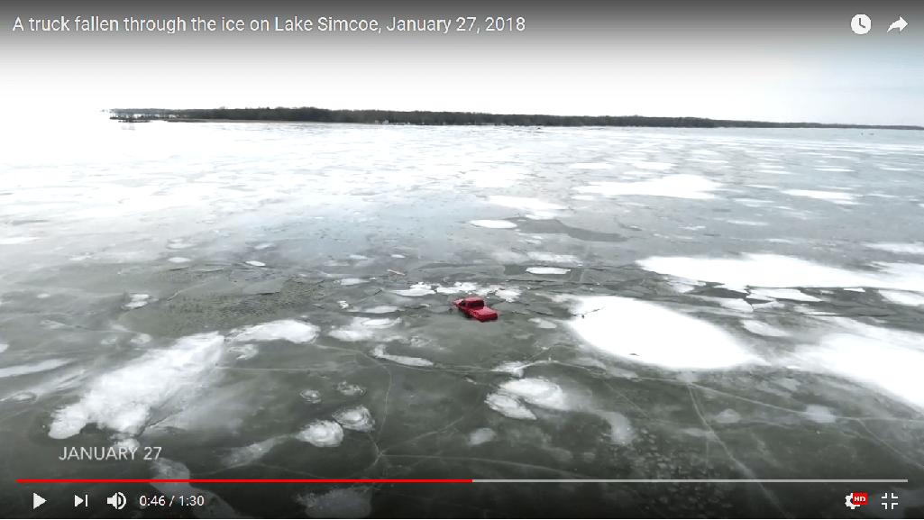 Video shows truck fallen through ice on Lake Simcoe